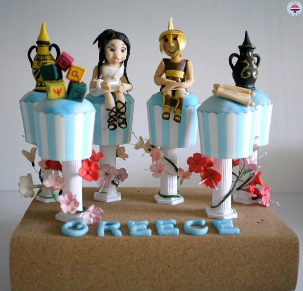 Athens, Greece Cupcakes by Veena Asmanov of Veena's Art of Cakes
