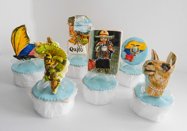 Quito, Ecuador cupcakes by Kim Coleman (Sugar Rush Custom Cookies)