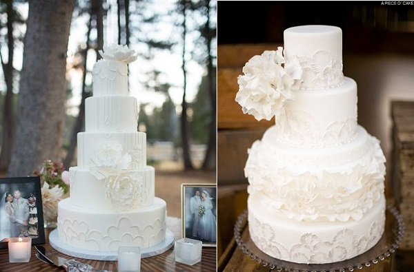 scallop piping wedding cakes from Sweet On Cake left and A Piece O Cake right