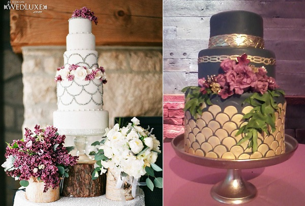 scalloped wedding cake designs by The Caketress, Kate Stoops Photography via WedLuxe left, Karen Seay of Cakes in Art right