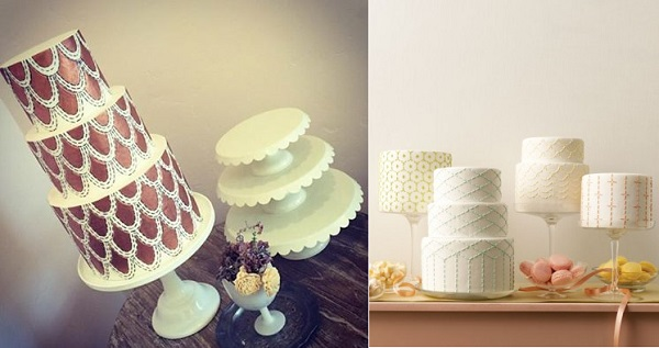 scalloped wedding cake in gold by Sweet and Saucy left, cakes right from Martha Stewart Weddings