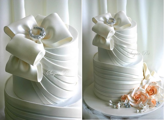 bow wedding cake by SugarPot