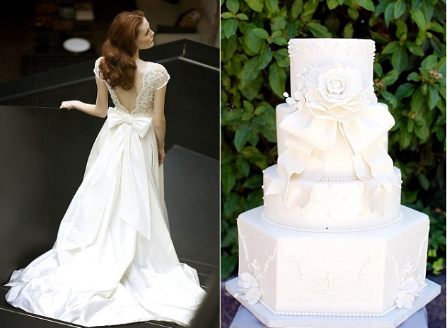 bow wedding cake by Sweet on Cake right, Mira Zwillinger Wedding Dress Collection left