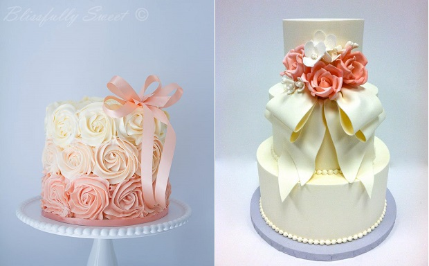 cakes with bows by Blissfully Sweet left, Sweet on Cake right