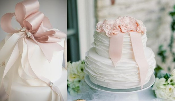 dusky pink wedding cake bow via Pinterest, cake right by Studio Cake, Tanja Lippert Photography via SMP