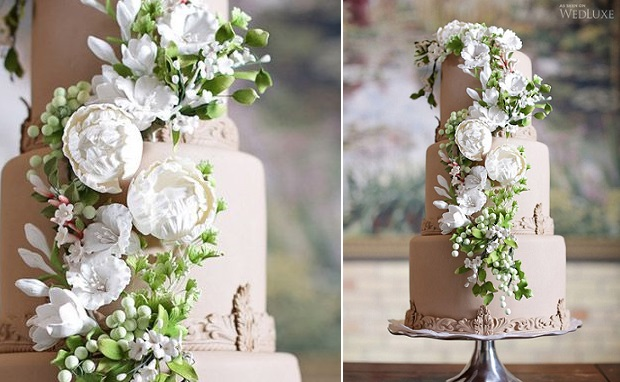 White Wedding Cake With White Flowers