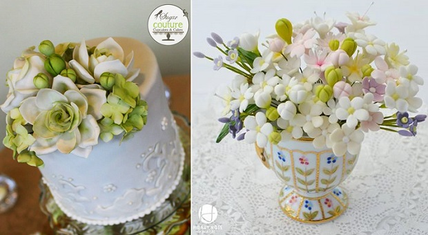 gumpaste buds and cakes by Sugar Couture Cupcakes & Cakes left, Hilary Rose Cupcakes right