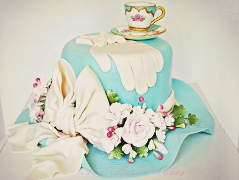 gumpaste gloves and vintage hat cake by Ann Marie's Cakes US
