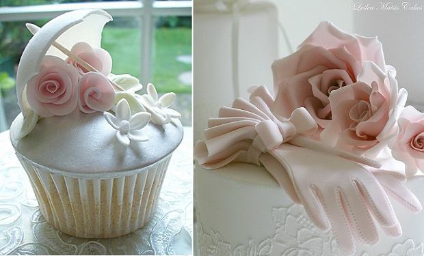 gumpaste parasol bridal umbrella and gumpaste gloves cake by Leslea Matsis Cakes