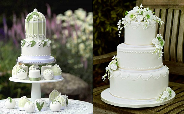 lily of the valley birdcage wedding cake by Gorgeous Cakes UK left, by Helenna Mannilla of Clearly Cake right