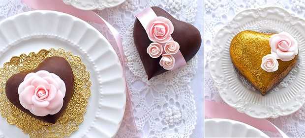 miniature heart cakes for Valentine's Day by Lulu's Sweet Secrets