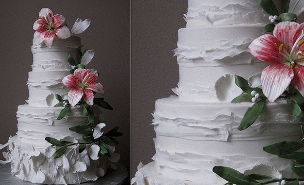 peeling layers fondant frills by Megan Joy Wedding Cakes