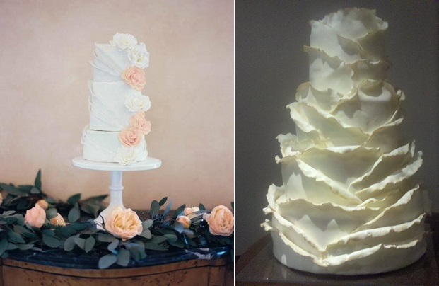 peeling layers ruffles frills, Sweet Things by Fi, Image by Romance Weddings left, The Fabulous Cake Girls, San Diego right