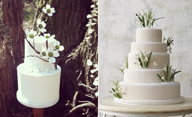 snowdrops wedding cake right via Pinterest (uncredited), spring wedding cake by Jonathan Caleb Cake left