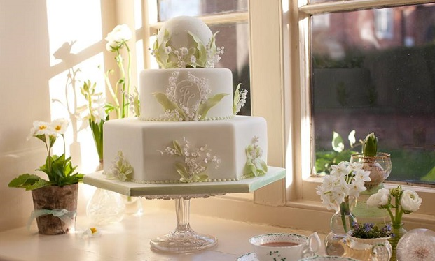 spring wedding cake lily of the valley sugar flowers by Fiona Cairns