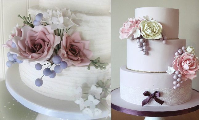 sugar flower buds wedding cakes by Elegant Icing left, Edible Essence Cake Art right