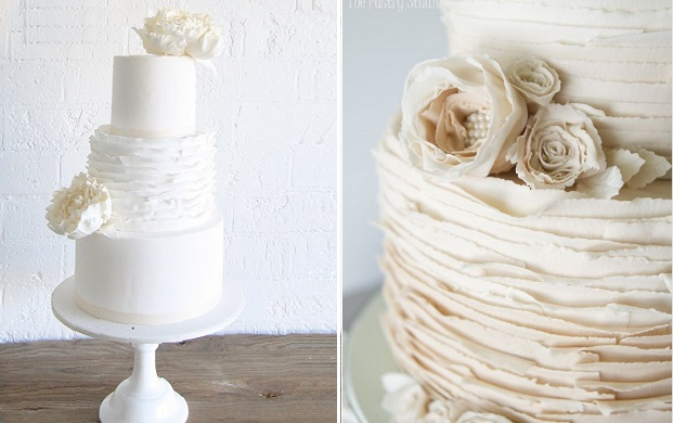 torn paper wedding cake ruffles by Sweet Bloom Cakes left, The Pastry Studio right