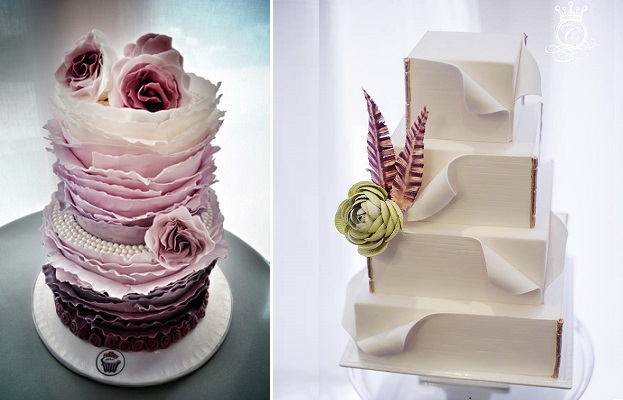 torn paper wedding cakes by Kitsch Cakes left, Connie Cupcake right (Krista Fox Photography)