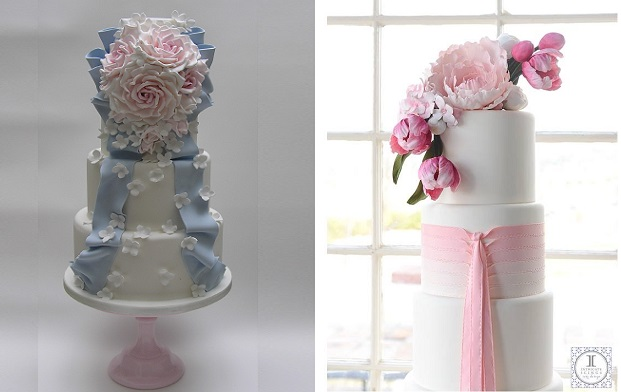 trailing ribbon wedding cakes by Scrrumdiddly left, Intricate Icings right
