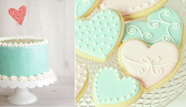 valentines cake by Sprinkle Bakes cherry vanilla cake left, heart cookies by Villa Perlesukker right