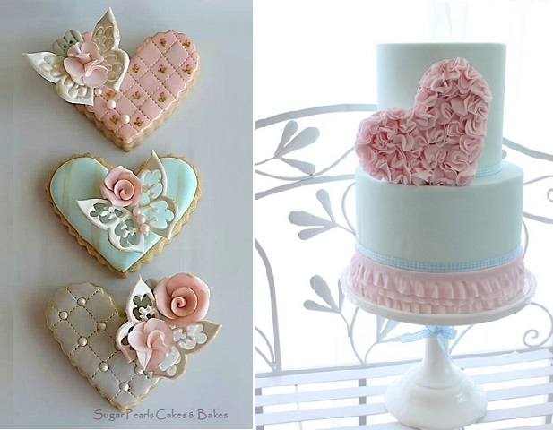 valentines cookies by Sugar Pearls Cakes and Bakes and cake by Kelly Warwick Cakes