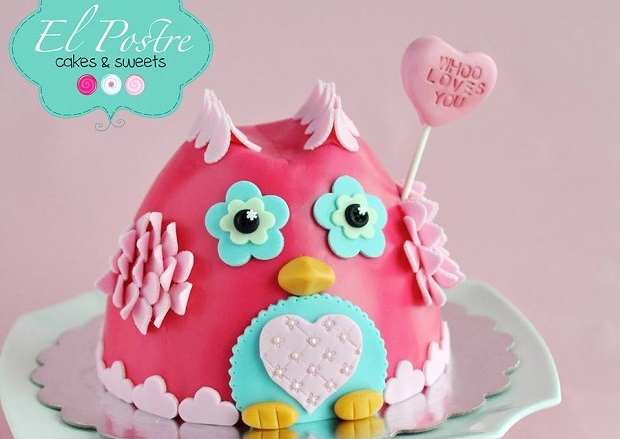 valentines owl cake by El Postre Cakes & Sweets