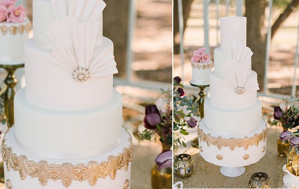 vintage fan wedding cake (Denise H. Witt Neunberger, Mint Photography via Ruffled)