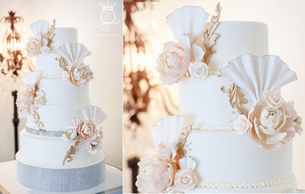 vintage fan wedding cake by Connie Cupcake Luxury Cakes, Krista Fox Photography