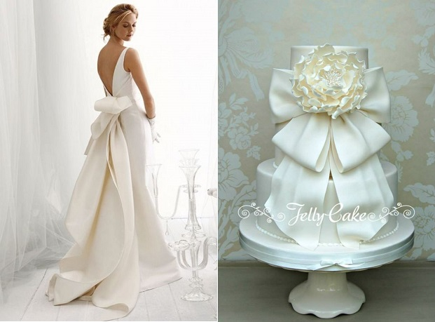 wedding cake with bow by Jelly Cake UK, bow wedding dress from Le Spose di Glo