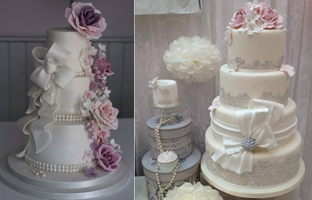 wedding cakes with bows by Edible Essence Cake Art, Plymouth left and Cheryl's Cake Boutique right