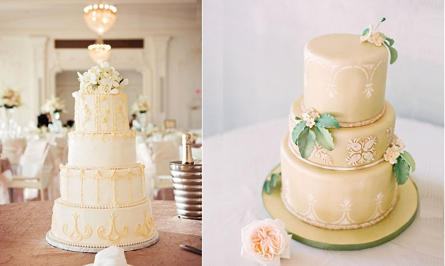 Edwardian inspired wedding cake left image by Tara Lokey Photography via WedSociety, cake right by A Cake Life, Ashley Goodwin Photography via Style Me Pretty
