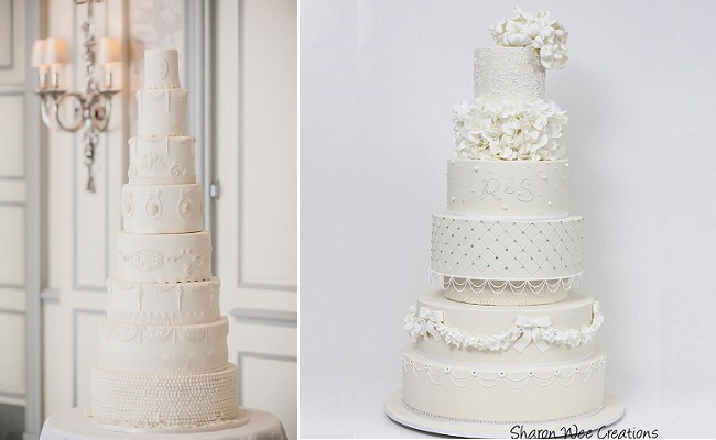 Edwardian inspired wedding cakes by Elizabeth's Cake Emporium left (image by Yemi Osunkoya of Kosibah) and Sharon Wee Creations right
