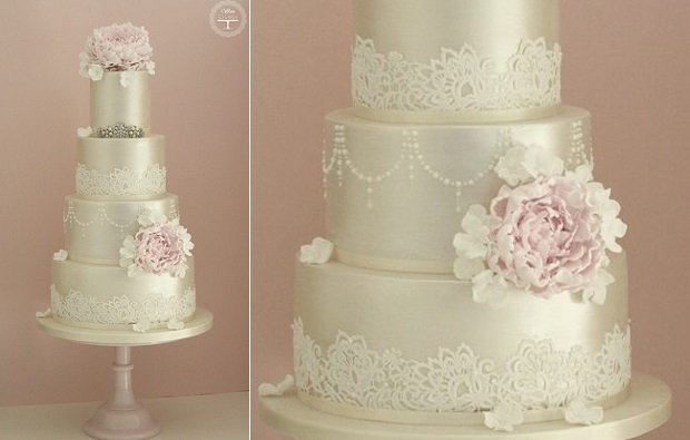 Champagne Pearl Wedding Cake By Cotton Crumbs