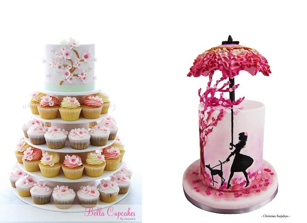 cherry blossom cakes by Bella Cupcakes left, by Christian Sutjahyo via Cake Central right