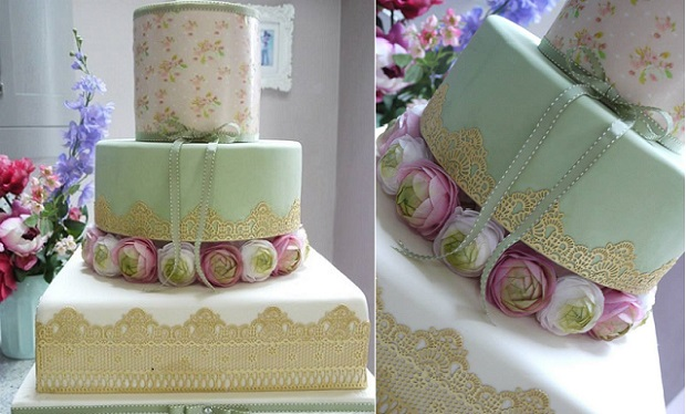 edible icing sheets vintage wedding cake by Scrummy Mummy's Cakes