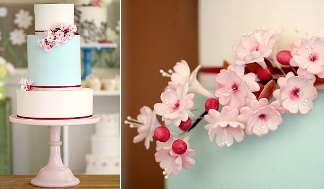 gumpaste cherry blossom branches  image via Fair Cakes UK