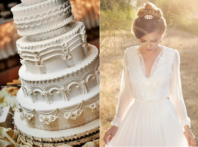 lambeth wedding cake by Wendy Kromer Confections (image by New Age Photography), wedding dress via Pinterest