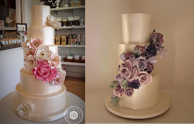 Soft Gold Wedding Cakes By Bobbette Belle Left And Cakesalouisa Right