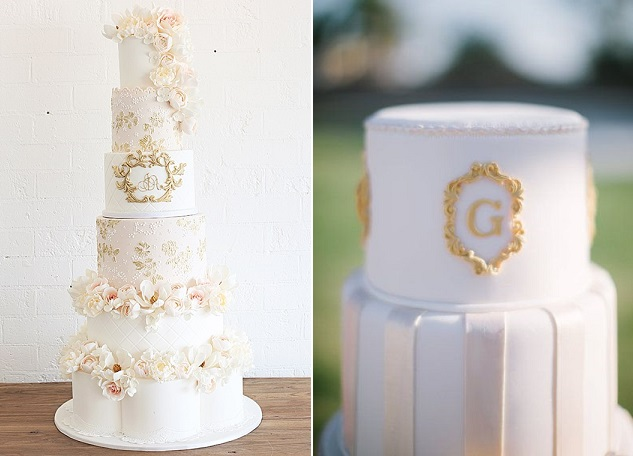 antique gold framed wedding cake by Sweet Bloom left, framed monogram cake by Classic Cake and Confections, Gina Meola Photography