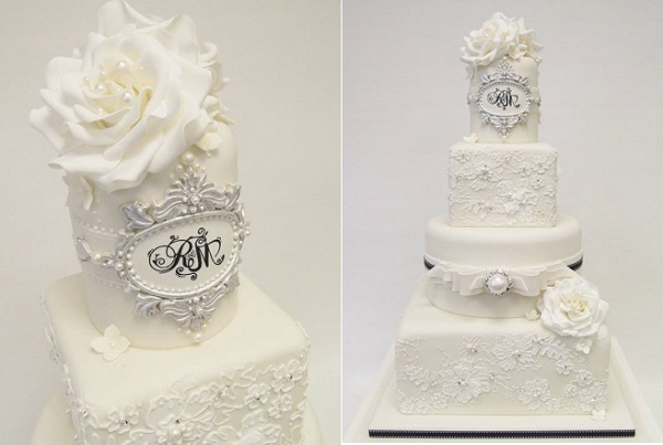 antique silver frame wedding cake by Emma Jayne Cake Design