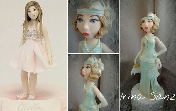 birthday girl cake topper by Emma Jayne Cake Design left, flapper girl cake topper for Gatsby cake by Irina Sanz right
