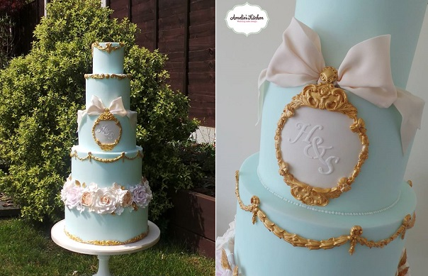 blue baroque style wedding cake with gilded gold details by Amelie's Kitchen