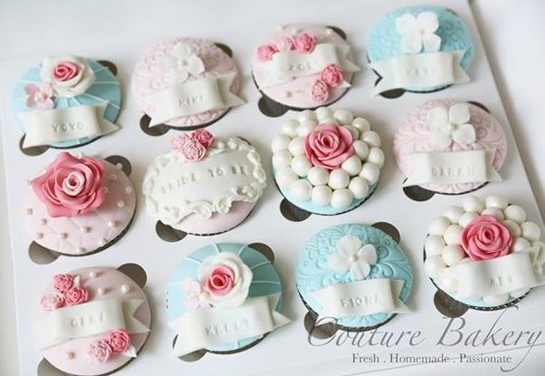 bridesmaid gifts cupcakes with lace frame design by the Couture Bakery Hong Kong