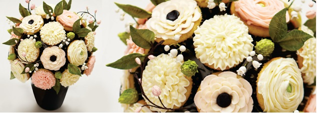buttercream dahlias and buttercream anemones cupcake bouquet by The Rolling Pin, Canada (formerly J'Adore Cakes)