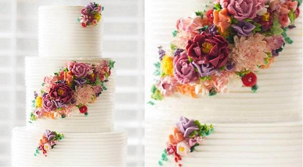 buttercream floral wedding cake by Erica O'Brien via the Cake Blog, image Eric Brushett