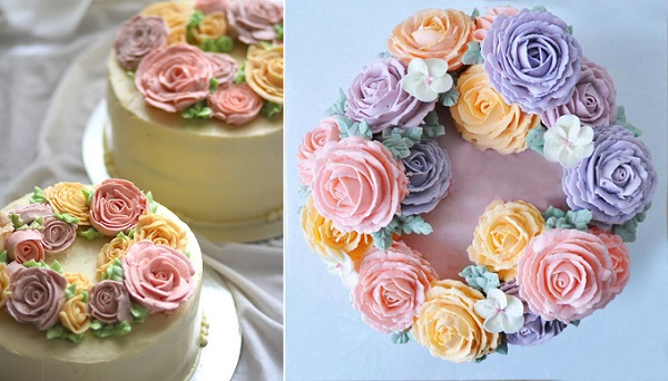 buttercream flowers cakes by Ardor and Bliss left, Bona Ceri Floral Cakes, right