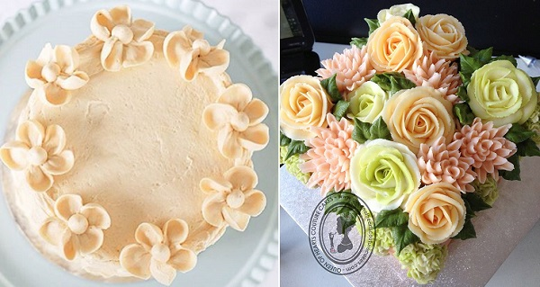 buttercream flowers cakes by Villa Perlesukker left, Queen of Hearts Couture Cakes right
