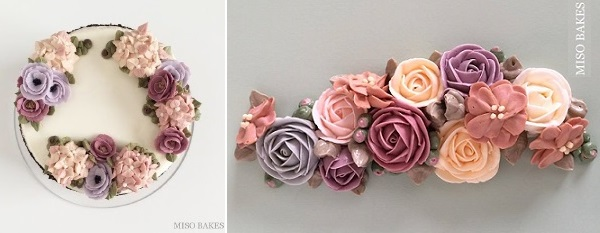 buttercream flowers in lilacs and pinks by Miso Bakes