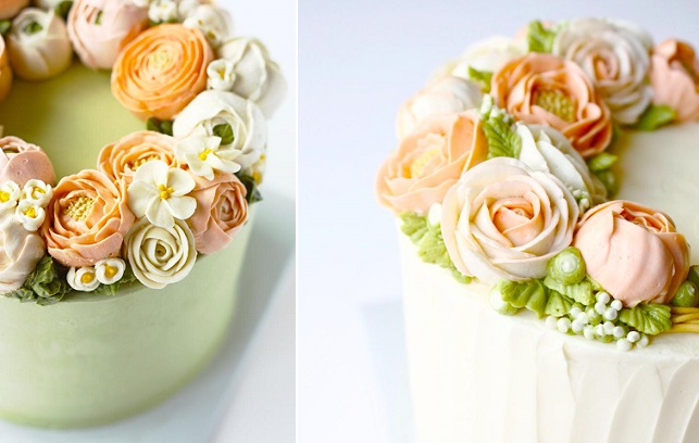 buttercream flowers in peach by Eat Cake Be Merry