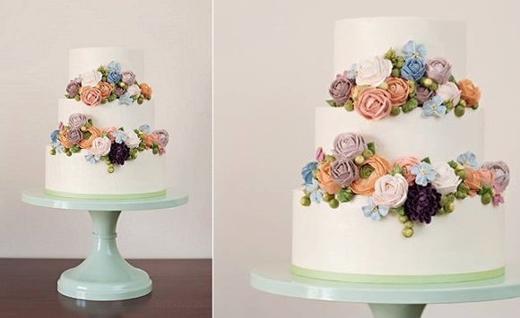 Buttercream Flowers Wedding Cake By Miso Bakes, Syliva G Photography